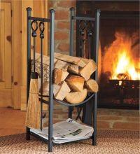Indoor Firewood Rack w Fireplace Tools Log Storage ...