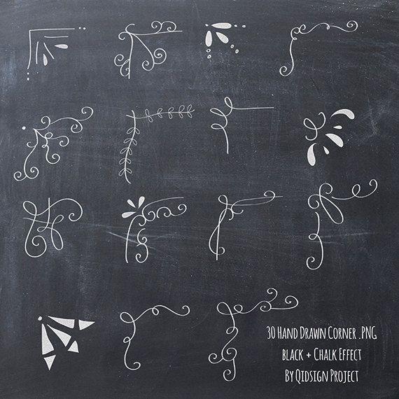 Hand drawn chalkboard corner clip art for scrapbooking card making blog graphics You need to