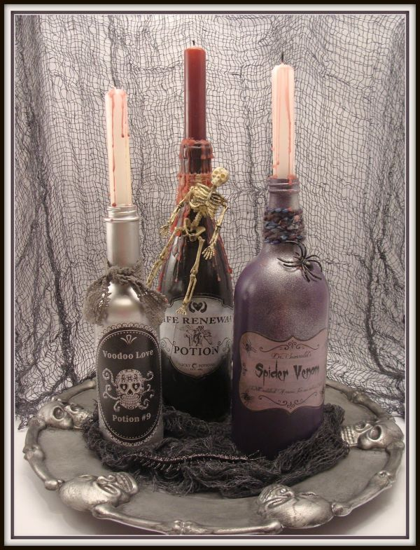 Spooky Potion Bottles And Dollar Store Tray Halloween