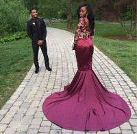 Sexy African Mermaid Burgundy Prom Dresses 2016 Long ...