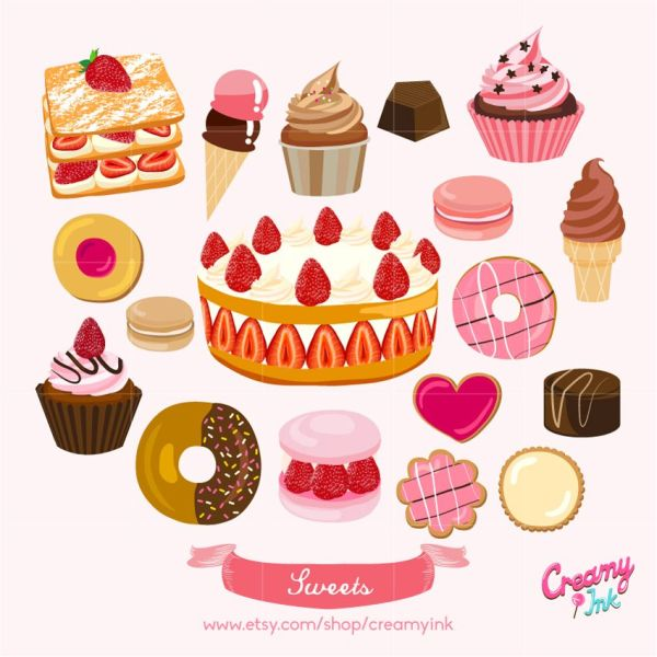 sweets digital clip art featuring