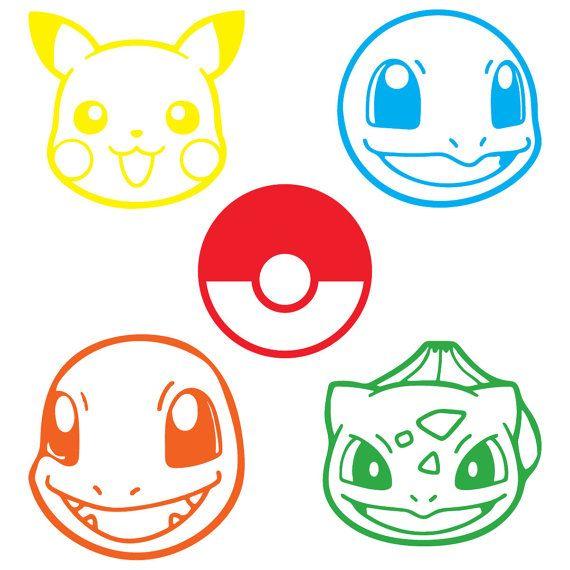 set of 5 pokemon character decals