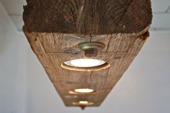 Massive Rustic Wooden Beam Chandelier