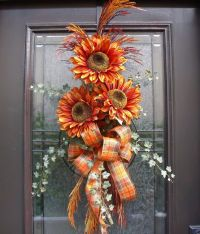 Fall Wreath Orange Sunflower Swag Front Door Wreath | Fall ...