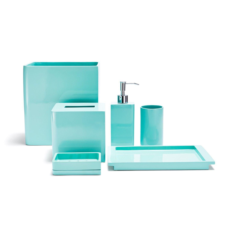 bathroom accessories in blue