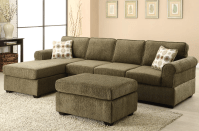 Likable Olive Green Fabric Sectional Sofa with Chaise and ...
