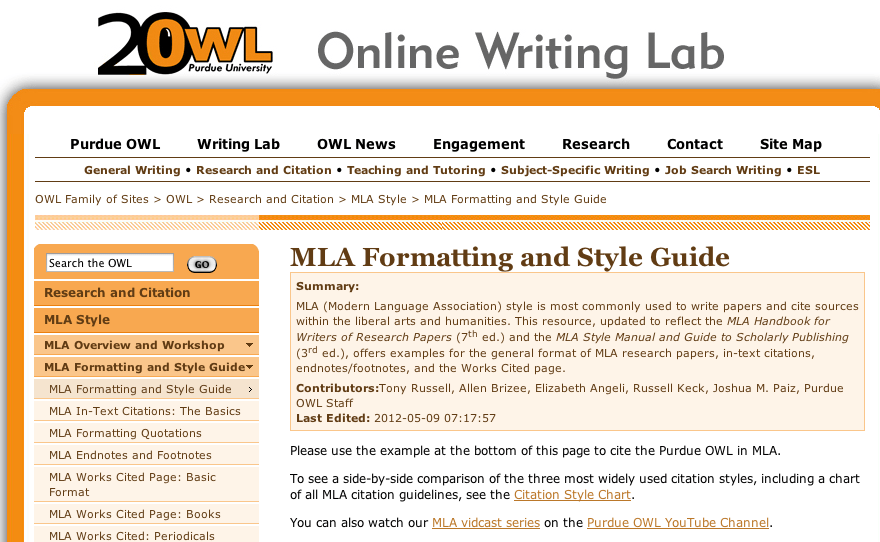 Owl At Purdue Has A Very Thorough Accurate MLA And APA Reference