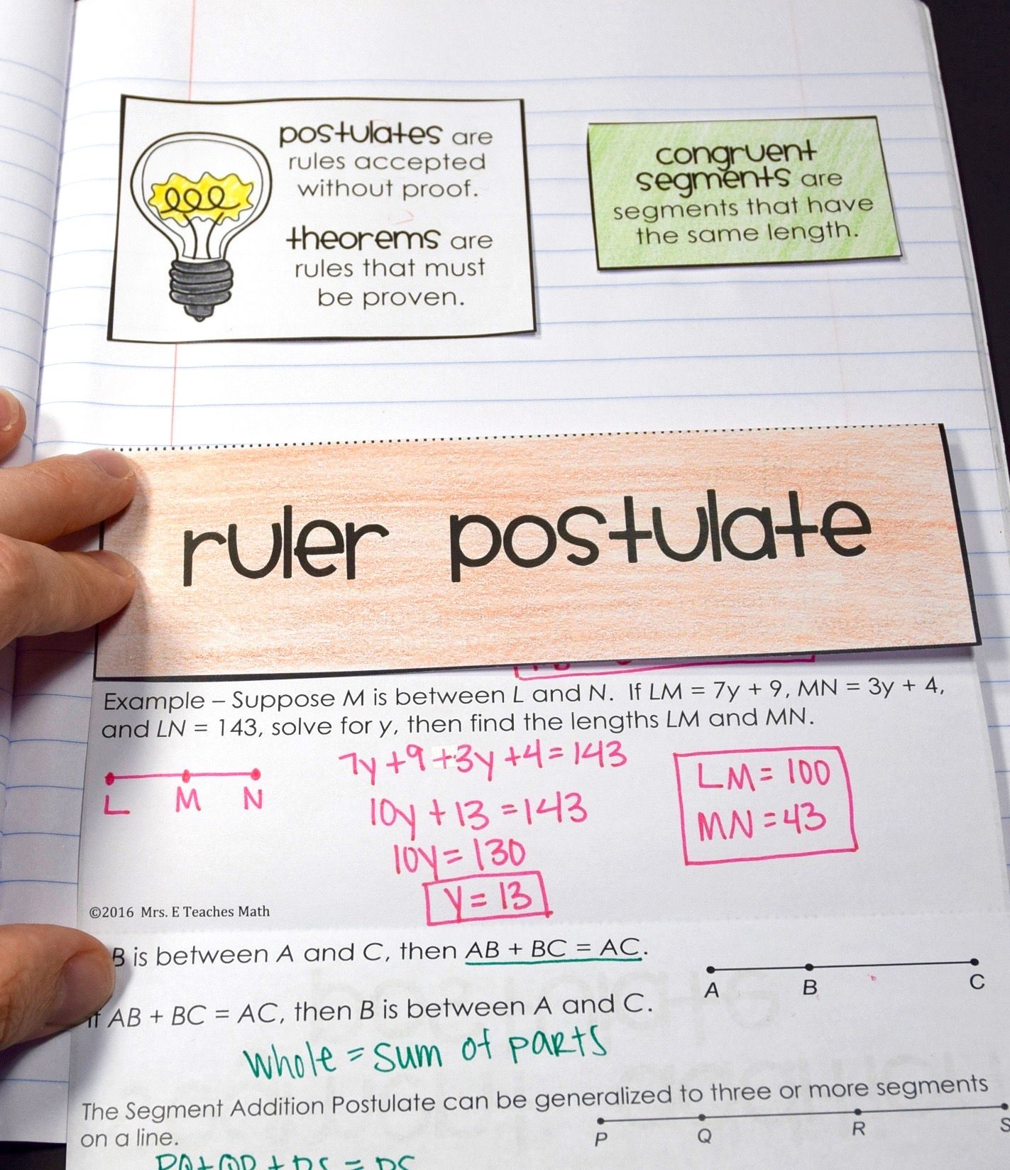 Ruler And Segment Addition Postulate Foldable