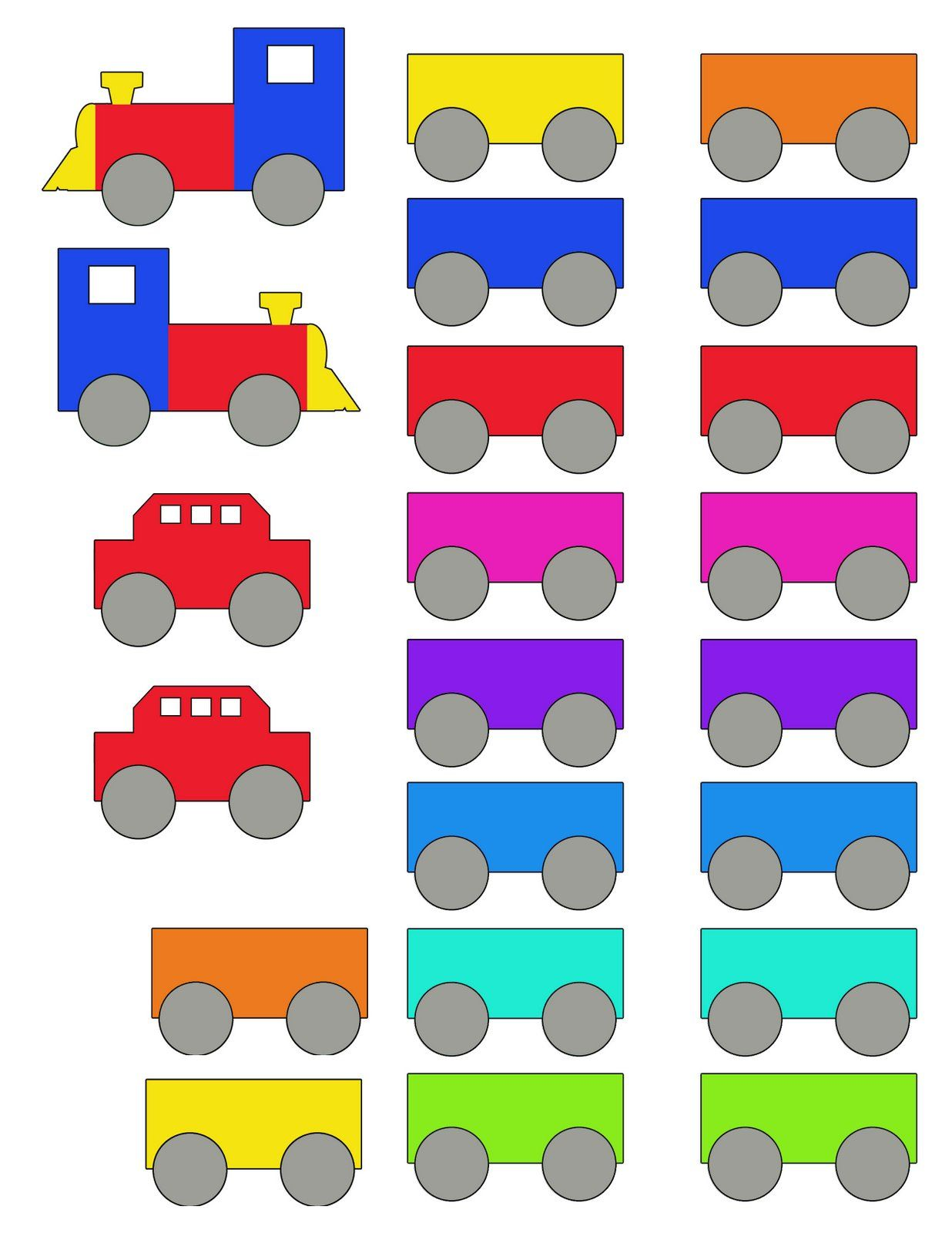 Printable Train Cut Outs For Folder Game Decorations