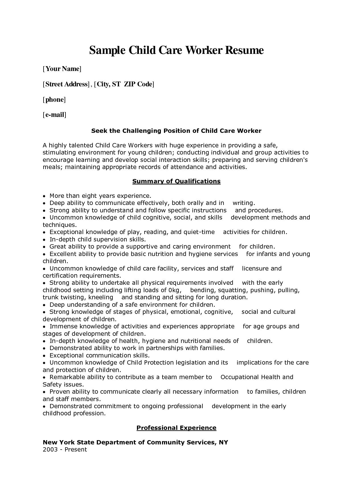 Care Worker Resume Child Care Worker Cover Letter Sample Child Care Worker