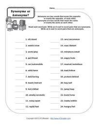 Synonyms or Antonyms? | Worksheets, Speech activities and ...