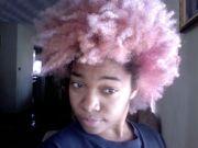 pink natural hair afro