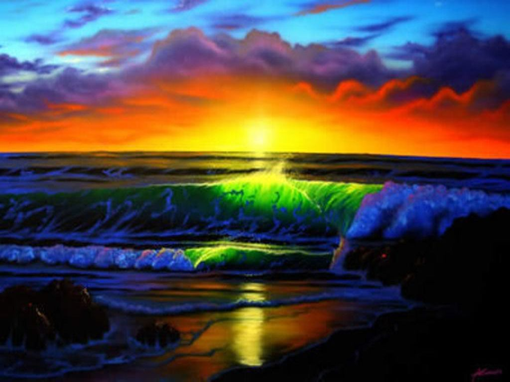 Rainbow Falls Hawaii Wallpaper Rainbow Sunset Wallpaper Colors Pinterest Field