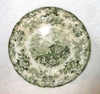 Antique MINTON Green & White Transferware Plate, GENEVESE ...
