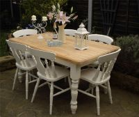 Shabby Chic Country Farmhouse Pine Table and 6 Chairs ...