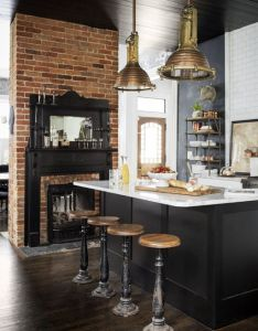 charming brick design and industrial style ideas for kitchen also rh pinterest
