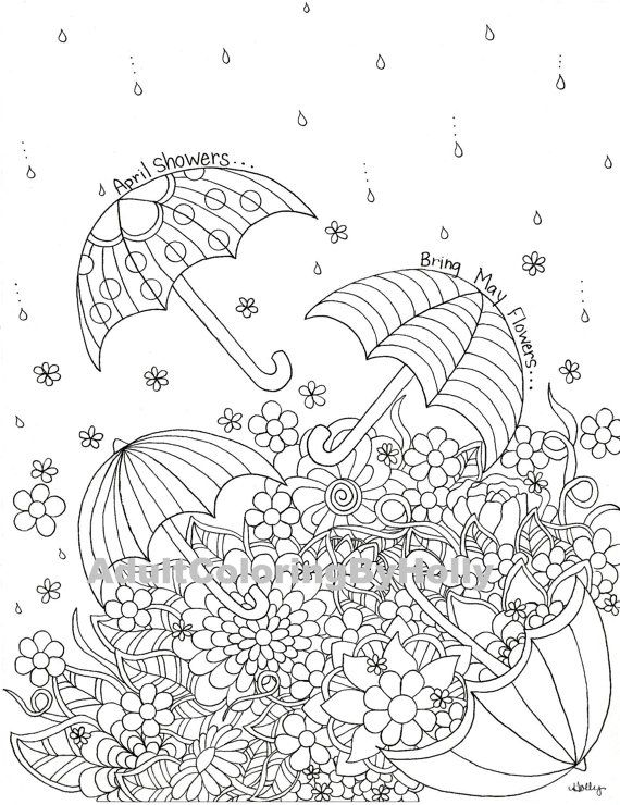 Adult Coloring Book Page April Showers by