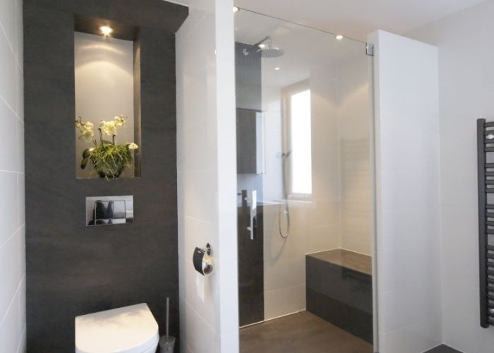 Bathroom with  walk in shower  bench also pinterest toilet mandala and towels