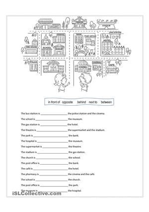 Worksheet for practicing preposition of place such as in