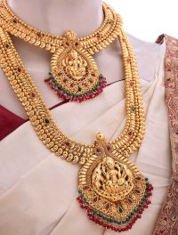 Marriage Bridal Jewellery Set with Pink Kemp Stones ...