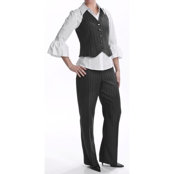 Isabella Pinstripe Pantsuit - Vest And Blouse Women