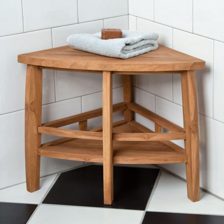 Teak Corner Shower Stool  Shower seat and Bathroom