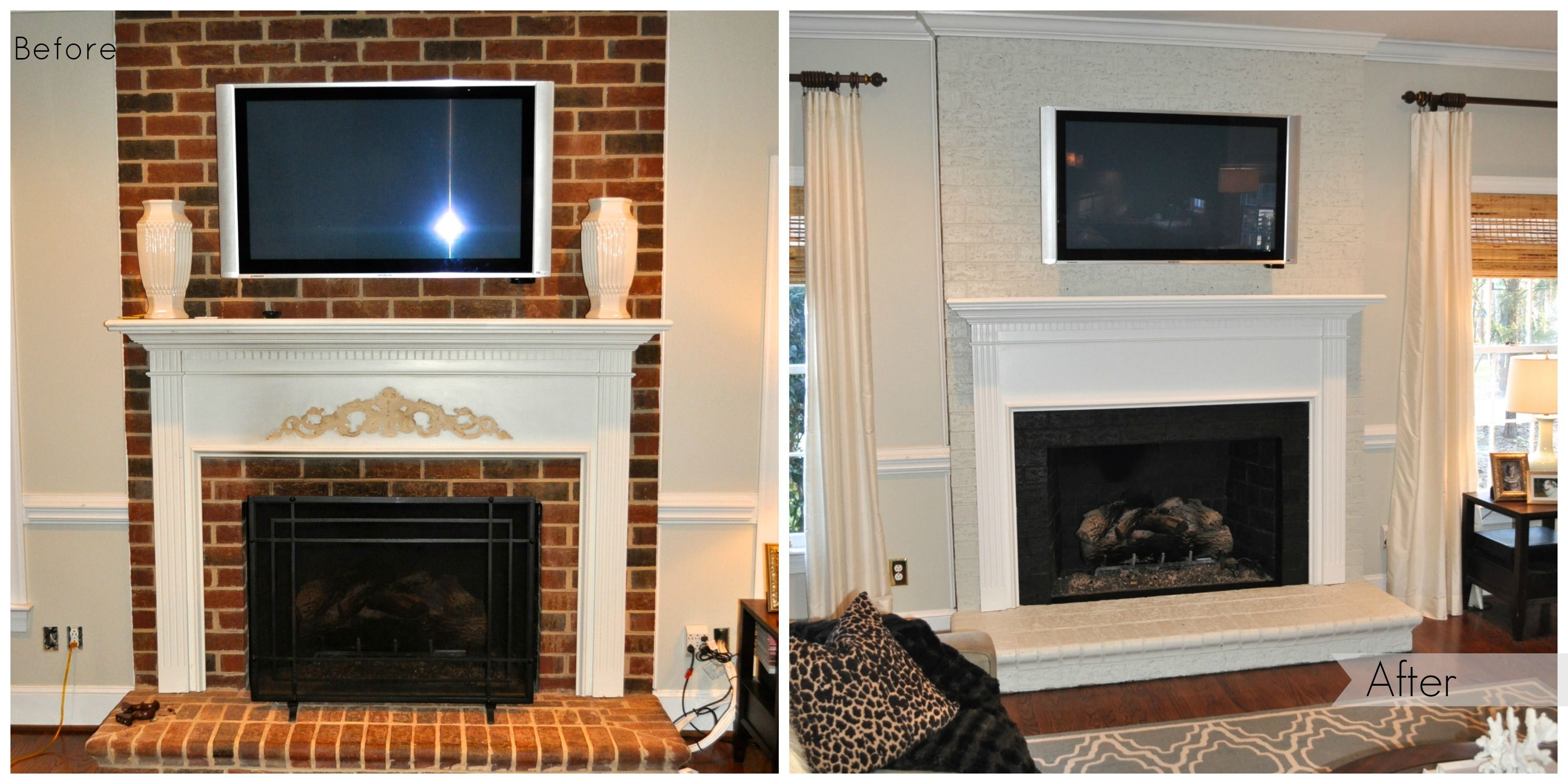 Painted Brick Fireplace Before Amp After Paint The Brick