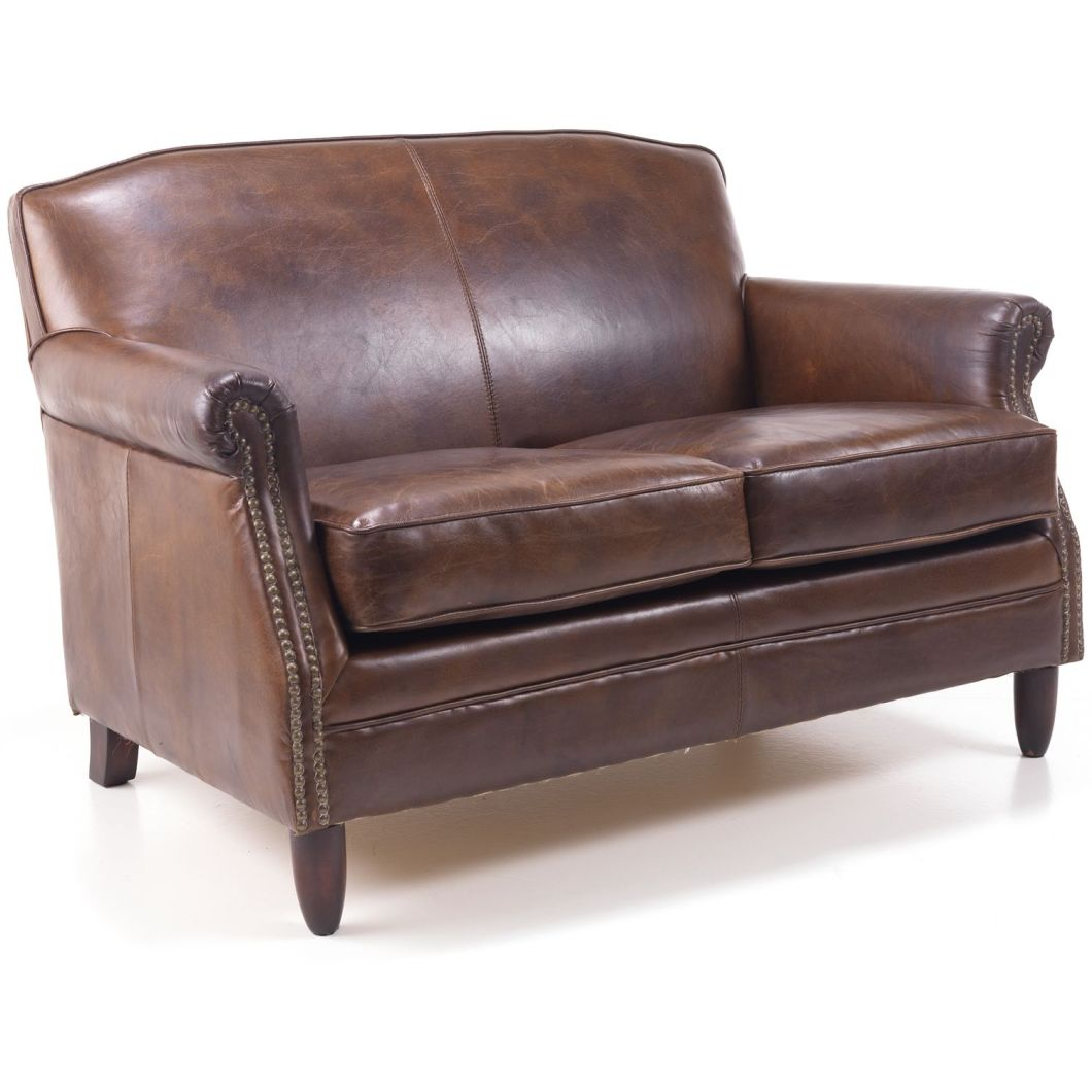 Antique leather 2 seater sofa for Studded sofa sets