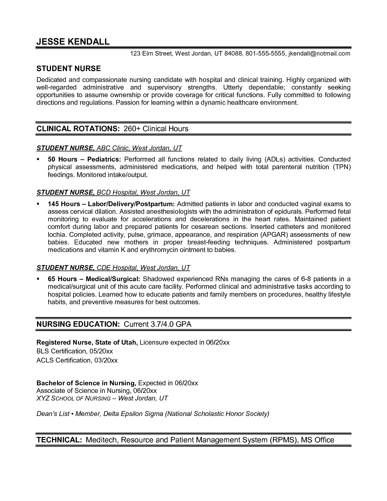 Nurses Resume Format Samples Nursing Resume Template Best Templateresume Templates
