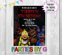 Five Nights At Freddys Birthday Party Invitations By