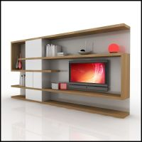 contemporary wall units   ... 3d model of a modern tv wall ...