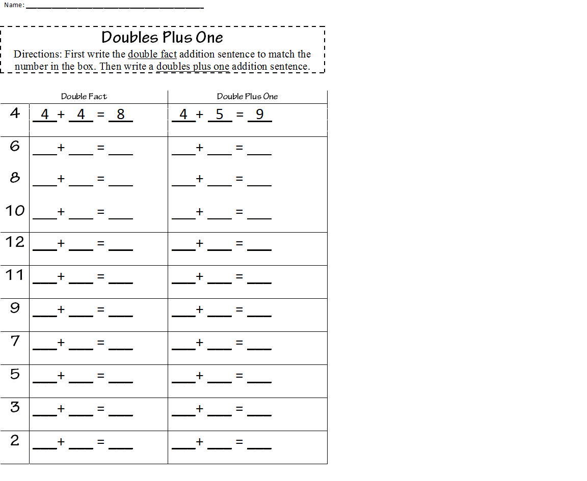 Doubles Plus One Worksheet