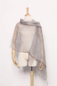 Silk and Viscose Organza Shawl Wrap Scarf Solid Silver ...