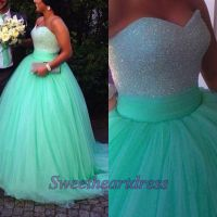 Ball gowns wedding dress, beautiful green tulle poofy prom ...