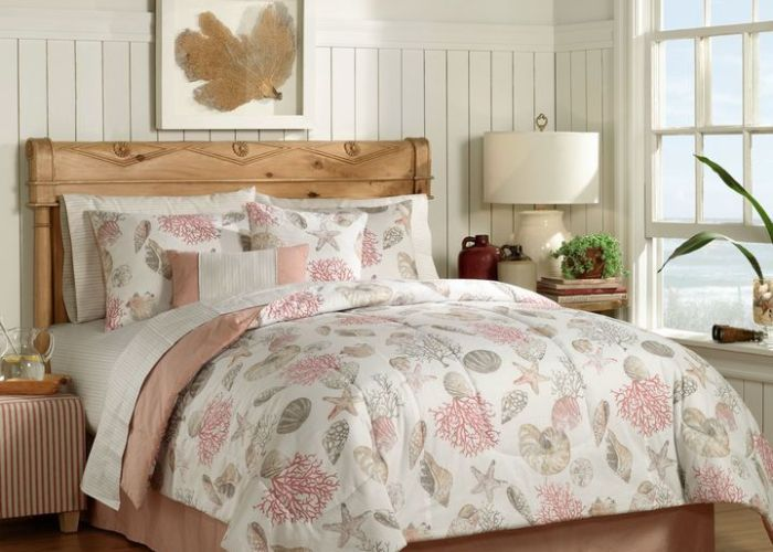 Coral seashell starfish seashore coastal beach queen comforter set bed in  bag check out this great product also complete bedroom decor pinterest