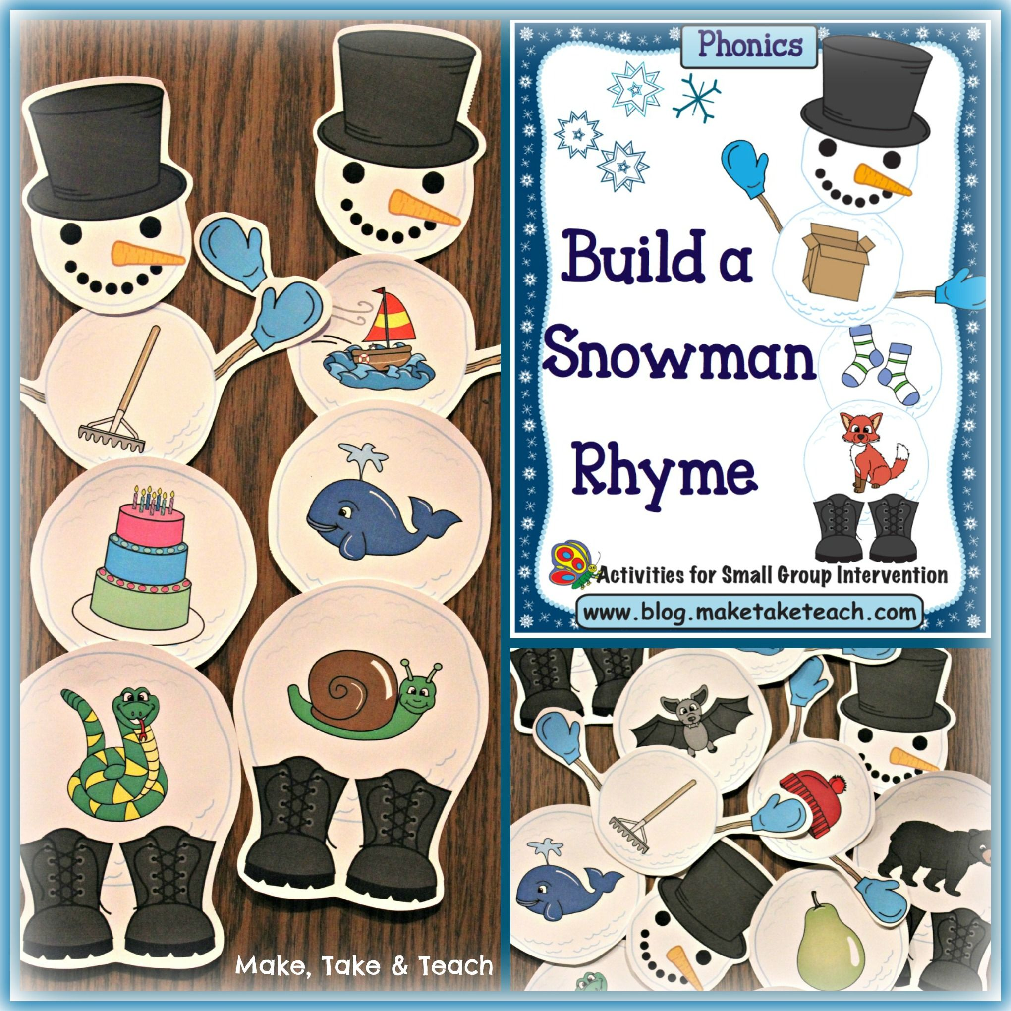 Build A Snowman Activities For Rhyme And Beginning Sounds Make Take Amp Teach