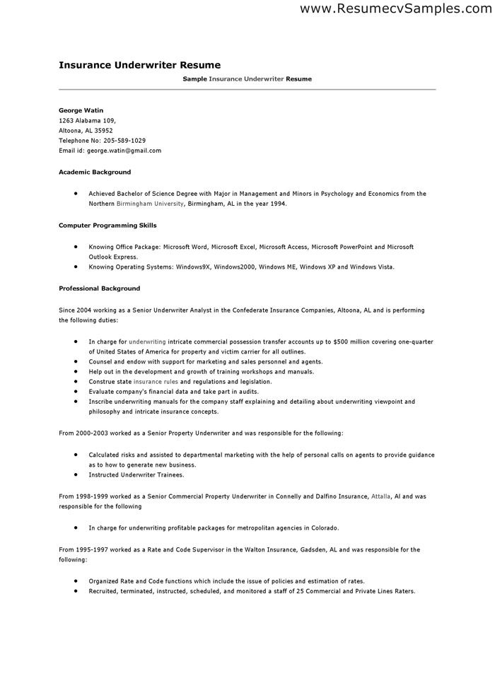 Insurance Resume Objective Examples Underwriter Resume Sample
