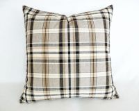 Tan Plaid Pillow, Decorative Throw Pillow, Brown Black