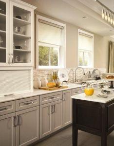 Contemporary kitchen beige cabinets espresso island kashmir white marble countertops also rh pinterest