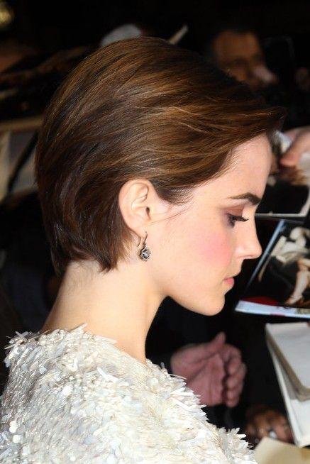 Cute Side Parted Combed Back Bob Cut Emma Watson Short