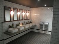 Cool industrial toilet design. With stylish subway tiles ...