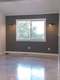 Planked wall painted dark gray | Plank Walls | Pinterest ...