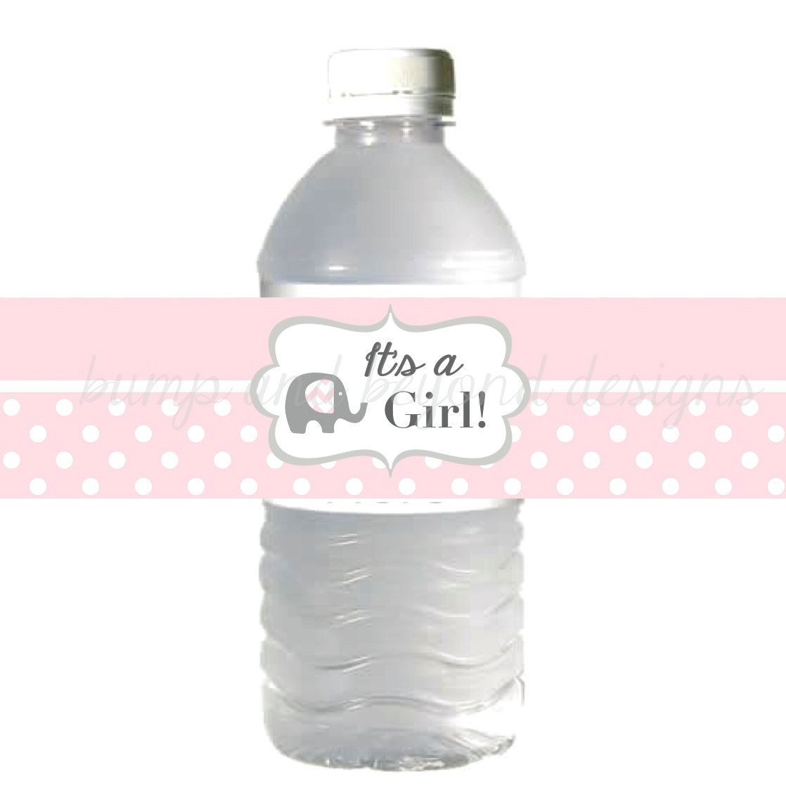 Water Bottle Labels It S A Girl Baby Shower Powder Pink Grey Elephant Instant Download Diy