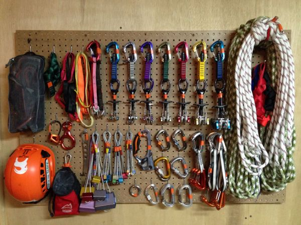 """Rock Climbing Gear. Pegboard 31""""x48"""" Great And Bunched"""