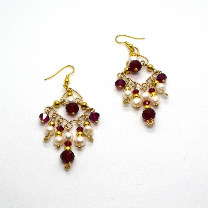 Gold Chandelier Earrings Christmas Crystal Red Pearl