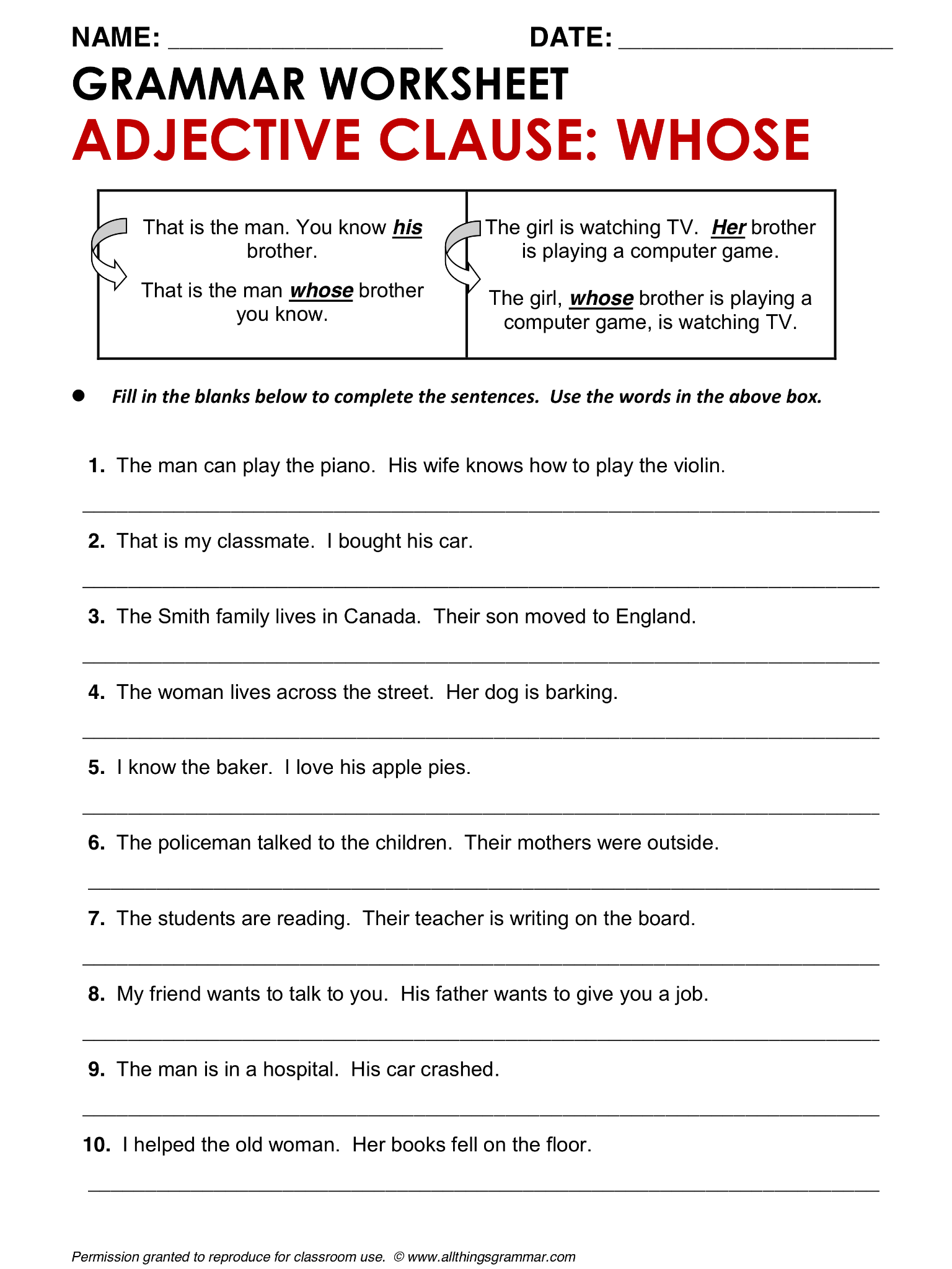 Worksheet Adjective Clauses Worksheet Grass Fedjp