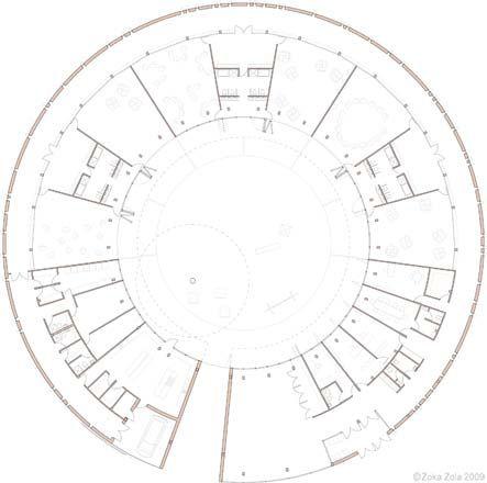Zoka Zola, prototypical Kindergarten, circular floor plan