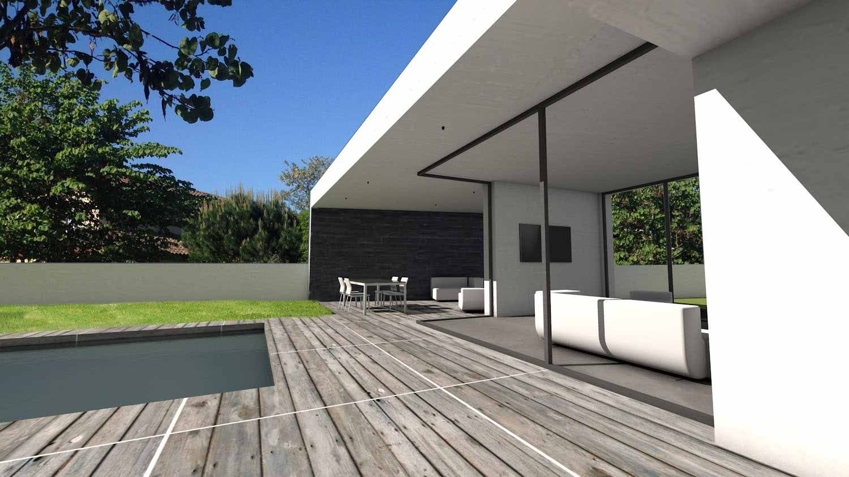 Atelier dArchitecture Scnario  Maison contemporaine darchitecte  toit terrasse et parement