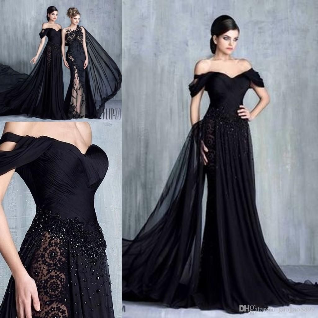 Tony Chaaya Black Elegant Formal Evening Gowns 2017 Modest