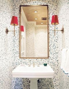 Luxurious small bathroom decoration for house colorful sconces in  wallpapered murrietahomepage also rh pinterest